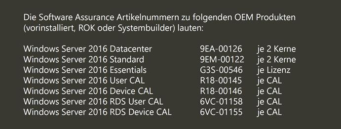 Windows Server 2016 und CALs - Microsoft-Beratung von Manfred Helber